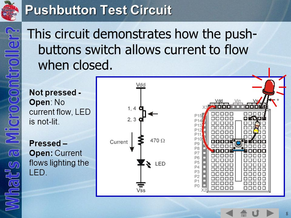 8 Pushbutton Test Circuit This circuit demonstrates how the push- buttons switch allows current to flow when closed. Not pressed - Open: No current fl
