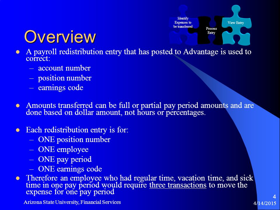 4/14/2015 Arizona State University, Financial Services 4 Overview A payroll redistribution entry that has posted to Advantage is used to correct: –account number –position number –earnings code Amounts transferred can be full or partial pay period amounts and are done based on dollar amount, not hours or percentages.