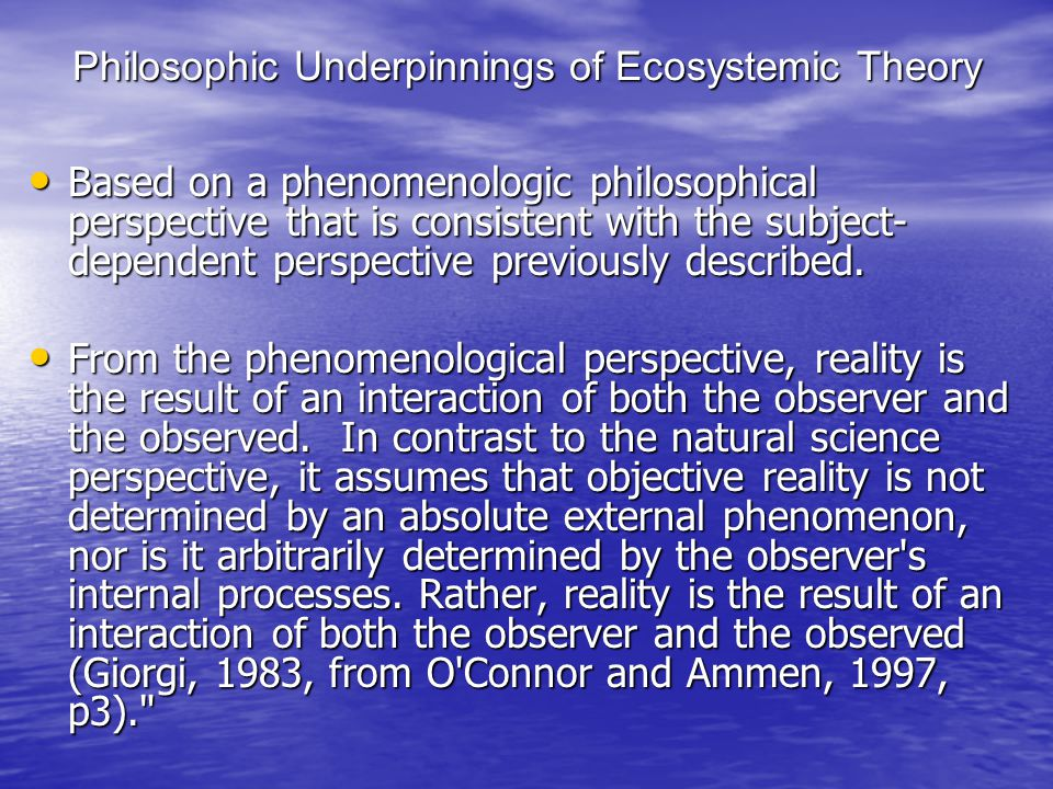 Philosophic Underpinnings of Ecosystemic Theory Based on a phenomenologic philosophical perspective that is consistent with the subject- dependent perspective previously described.