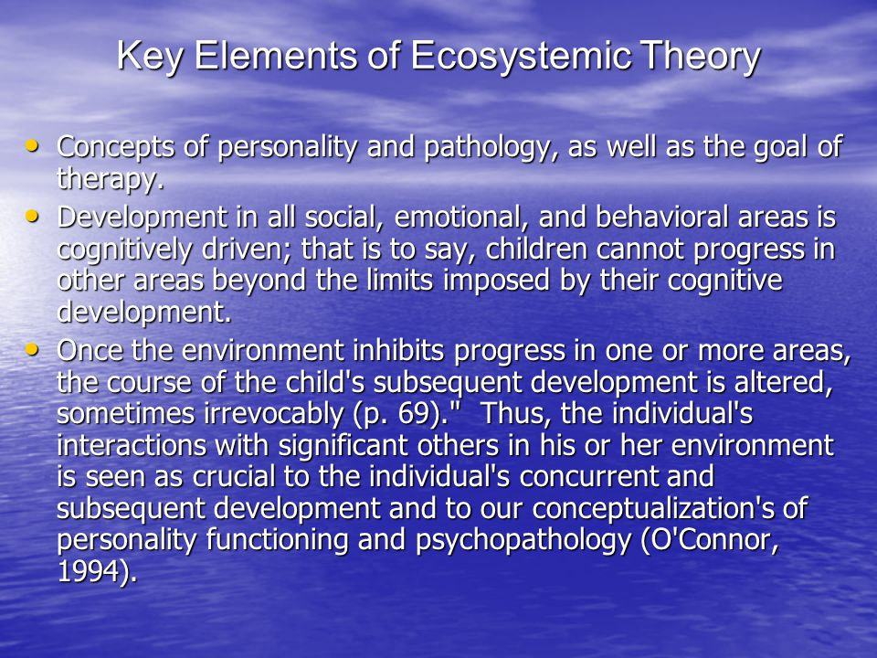 Key Elements of Ecosystemic Theory Concepts of personality and pathology, as well as the goal of therapy.