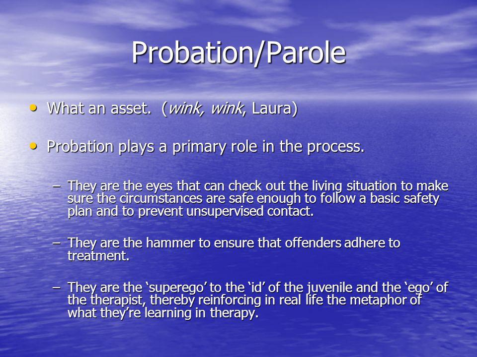 Probation/Parole What an asset.(wink, wink, Laura) What an asset.