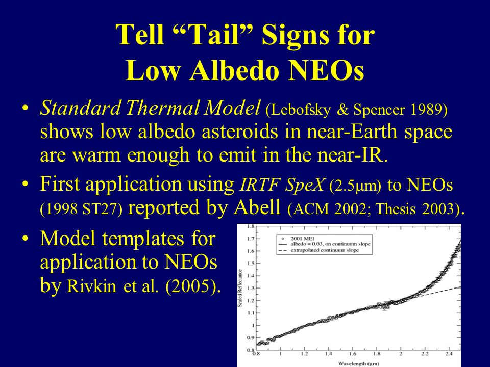Tell Tail Signs for Low Albedo NEOs Standard Thermal Model (Lebofsky & Spencer 1989) shows low albedo asteroids in near-Earth space are warm enough to emit in the near-IR.