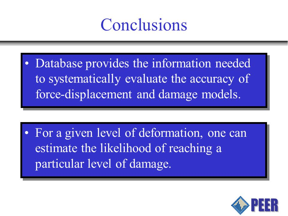 Conclusions Database provides the information needed to systematically evaluate the accuracy of force-displacement and damage models.