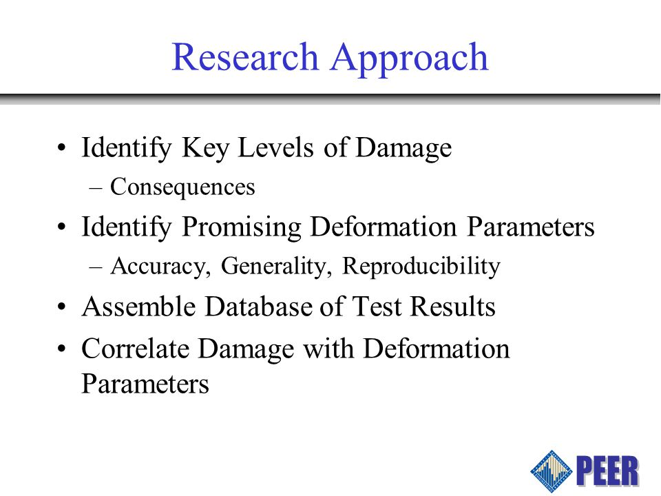 Research Approach Identify Key Levels of Damage –Consequences Identify Promising Deformation Parameters –Accuracy, Generality, Reproducibility Assemble Database of Test Results Correlate Damage with Deformation Parameters
