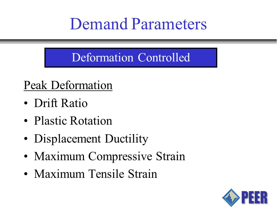 Demand Parameters Peak Deformation Drift Ratio Plastic Rotation Displacement Ductility Maximum Compressive Strain Maximum Tensile Strain Deformation Controlled