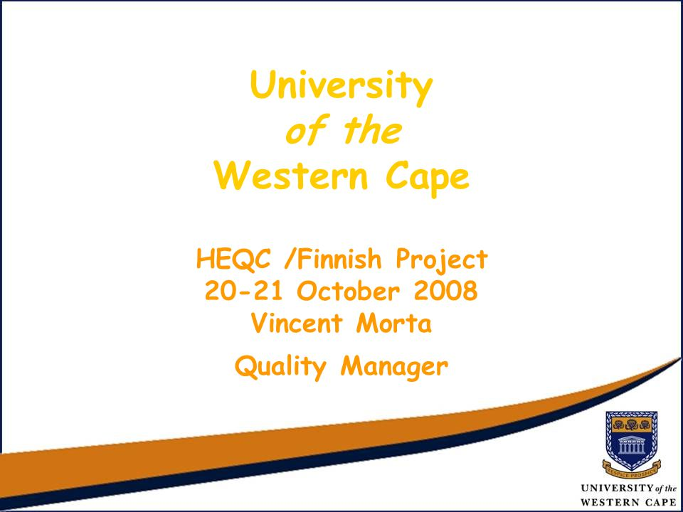 UNIVERSITY OF THE WESTERN CAPE New Life Science Complex