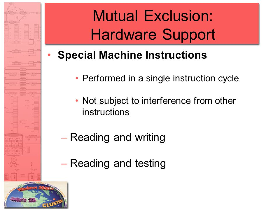 Mutual Exclusion: Hardware Support Special Machine Instructions Performed in a single instruction cycle Not subject to interference from other instruc