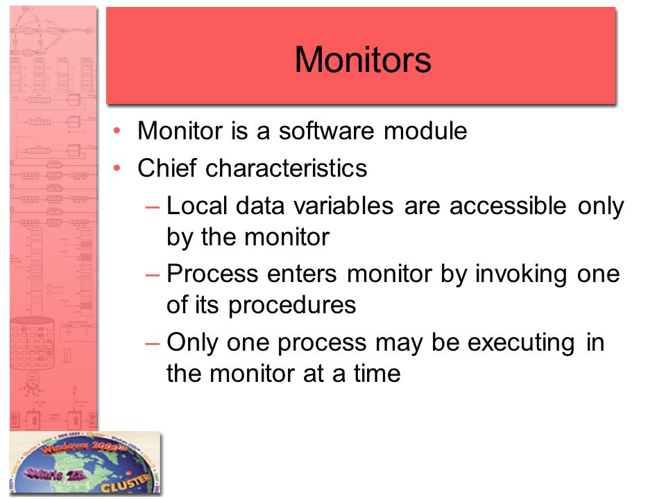 Monitors Monitor is a software module Chief characteristics –Local data variables are accessible only by the monitor –Process enters monitor by invoki