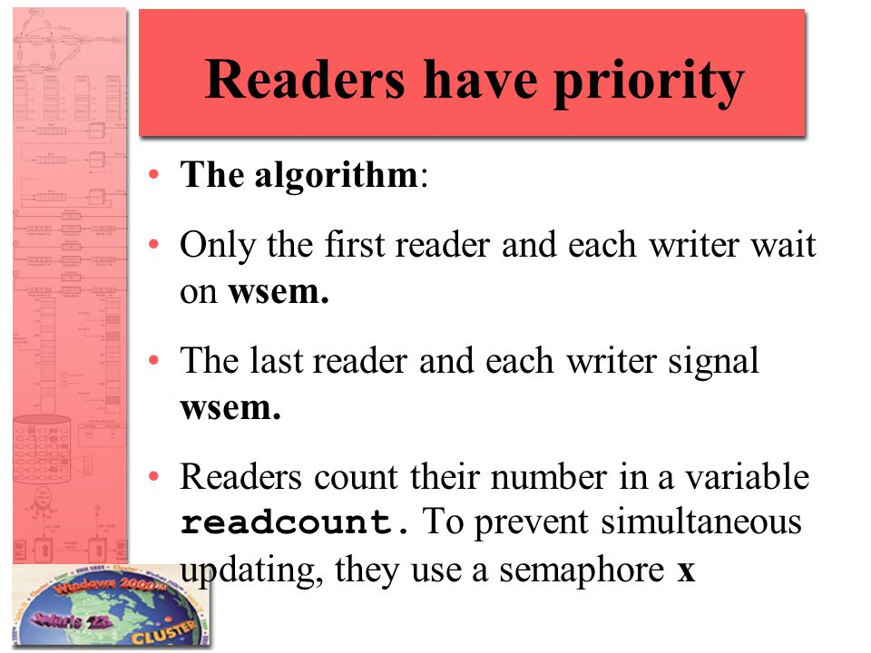 Readers have priority The algorithm: Only the first reader and each writer wait on wsem. The last reader and each writer signal wsem. Readers count th