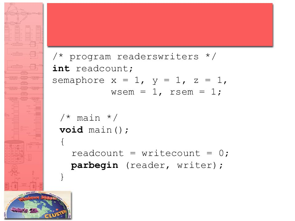 /* program readerswriters */ int readcount; semaphore x = 1, y = 1, z = 1, wsem = 1, rsem = 1; /* main */ void main(); { readcount = writecount = 0; p