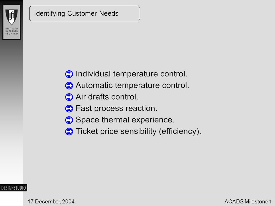 17 December, 2004ACADS Milestone 1 Product Specifications NeedDescriptionUn.Marginal Value Ideal Value P1P2P3 11-54Process reactions Fast V.Fast Slow 249-54Power Input Rationum Econ. Cheap Exp. 343-48Fuel/Fuel designnum Econ. Cheap Exp. 455-60ADPInum> 9010061-96 load flow/design flow.