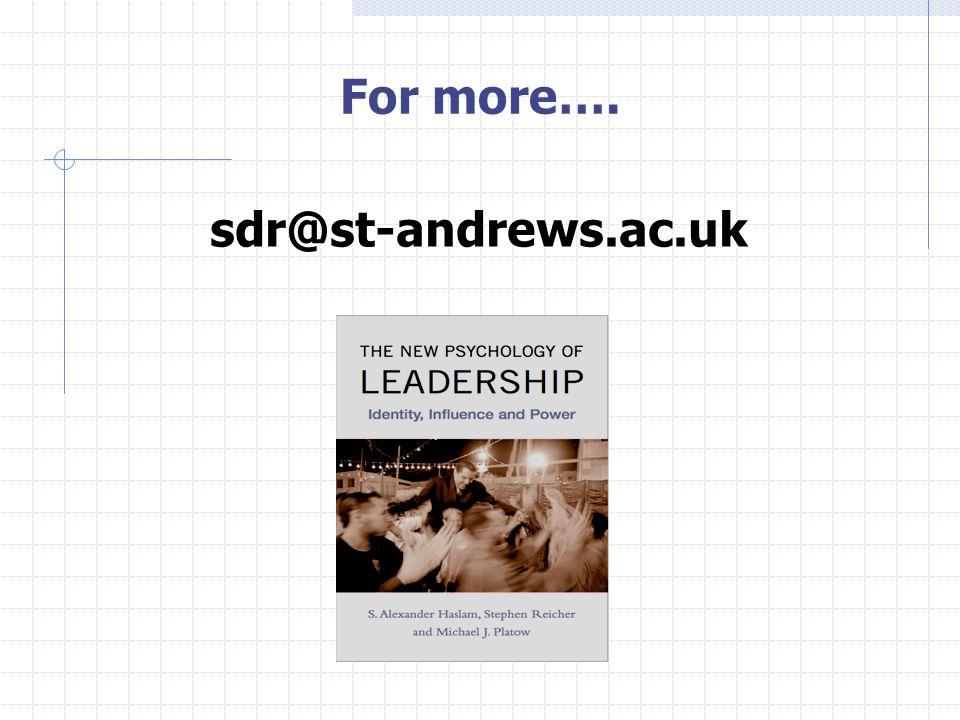 For more…. sdr@st-andrews.ac.uk