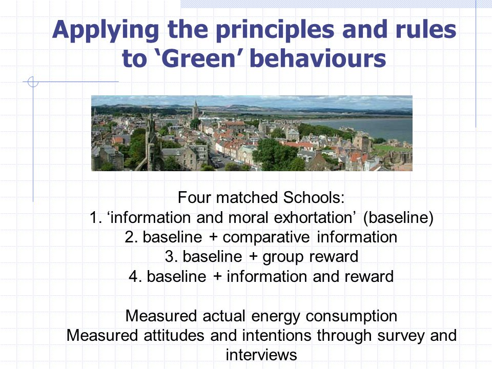 Applying the principles and rules to 'Green' behaviours Four matched Schools: 1.