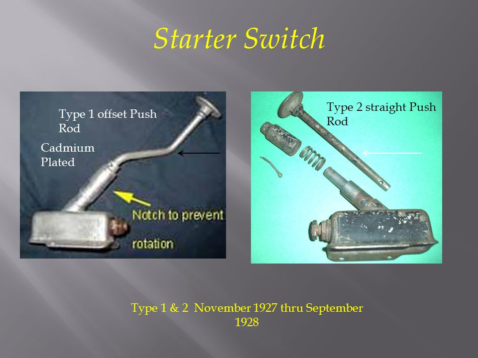 Type 1 & 2 November 1927 thru September 1928 Type 2 straight Push Rod Type 1 offset Push Rod Starter Switch Cadmium Plated