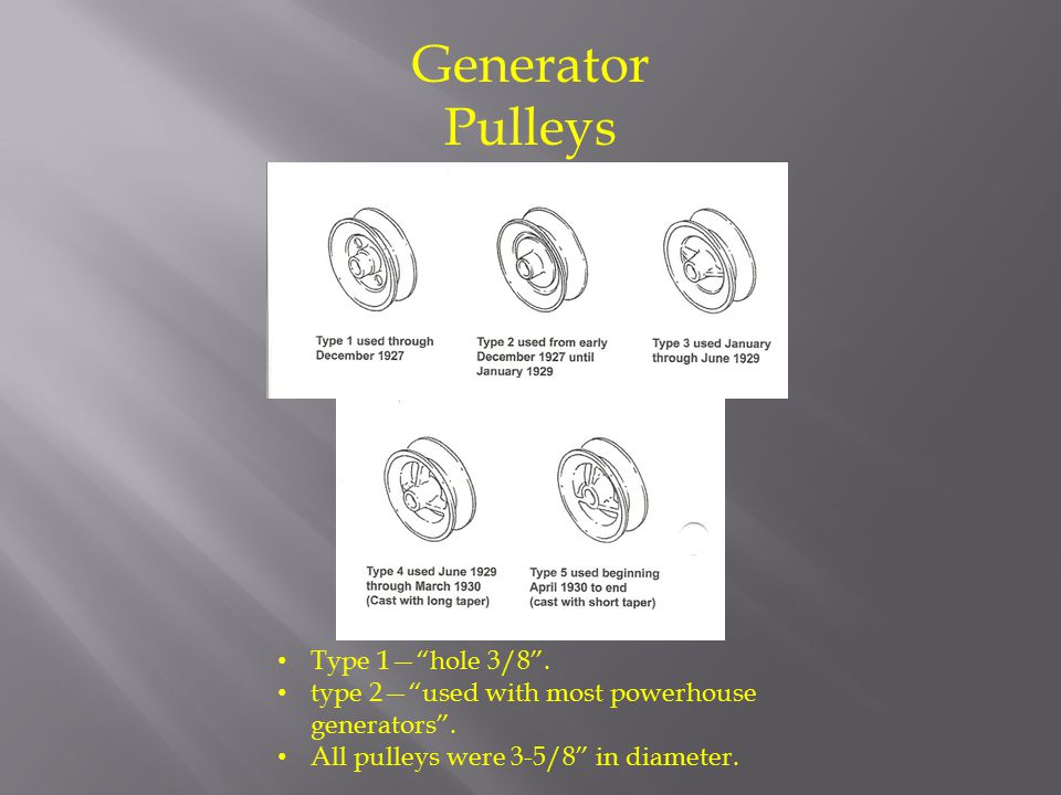 Generator Pulleys Type 1— hole 3/8 .type 2— used with most powerhouse generators .