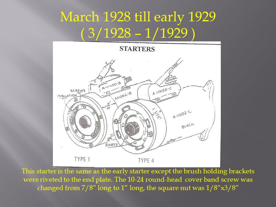 March 1928 till early 1929 ( 3/1928 – 1/1929 ) This starter is the same as the early starter except the brush holding brackets were riveted to the end plate.