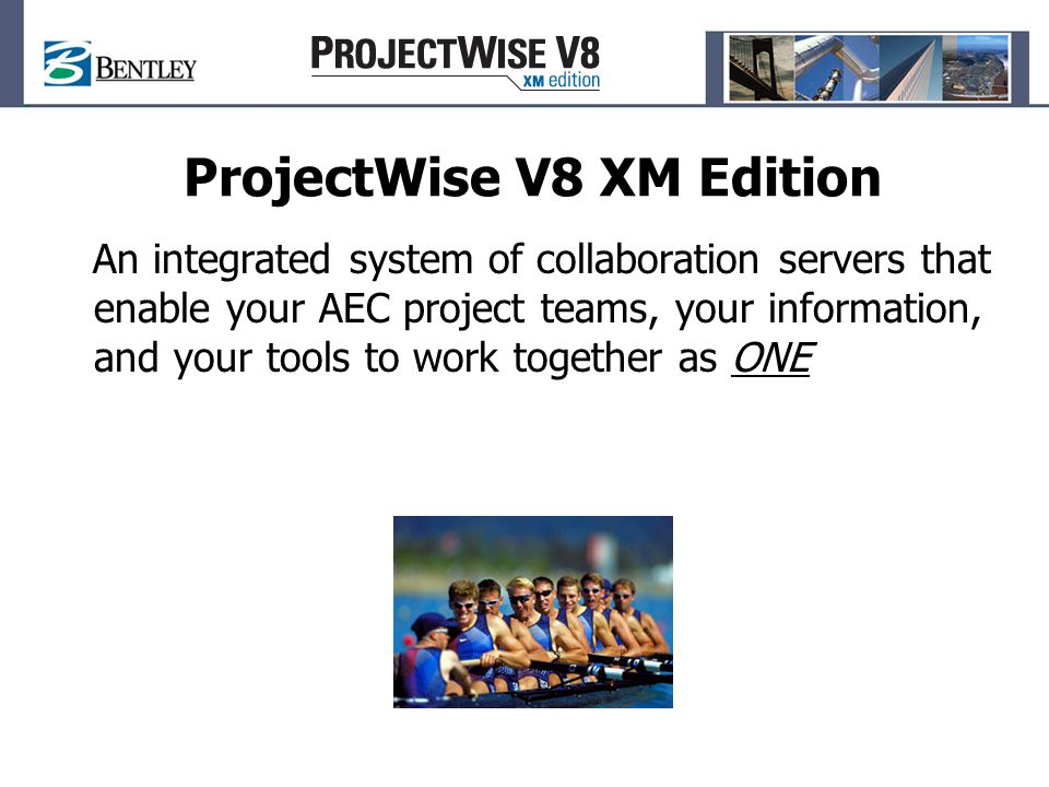 ProjectWise and SharePoint Joint Value Proposition Unify into a single customizable user interface the ability to navigate, search, and collaborate on project content across the enterprise regardless of the project repository Provide a platform for integration between ProjectWise and other Enterprise Applications through Web Services and Web Parts Eventually facilitate interaction between the design tools and the other office products, so that changes made in one tool can trigger updates to associated data in related tools, allowing for better informed decisions