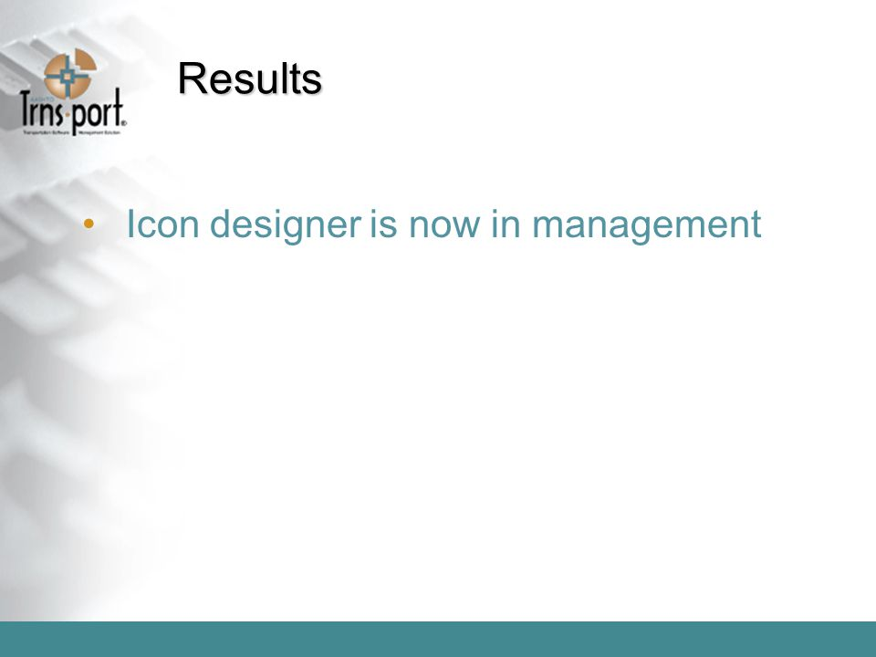 Results Icon designer is now in management