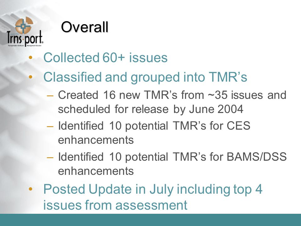 Overall Collected 60+ issues Classified and grouped into TMR's –Created 16 new TMR's from ~35 issues and scheduled for release by June 2004 –Identifie