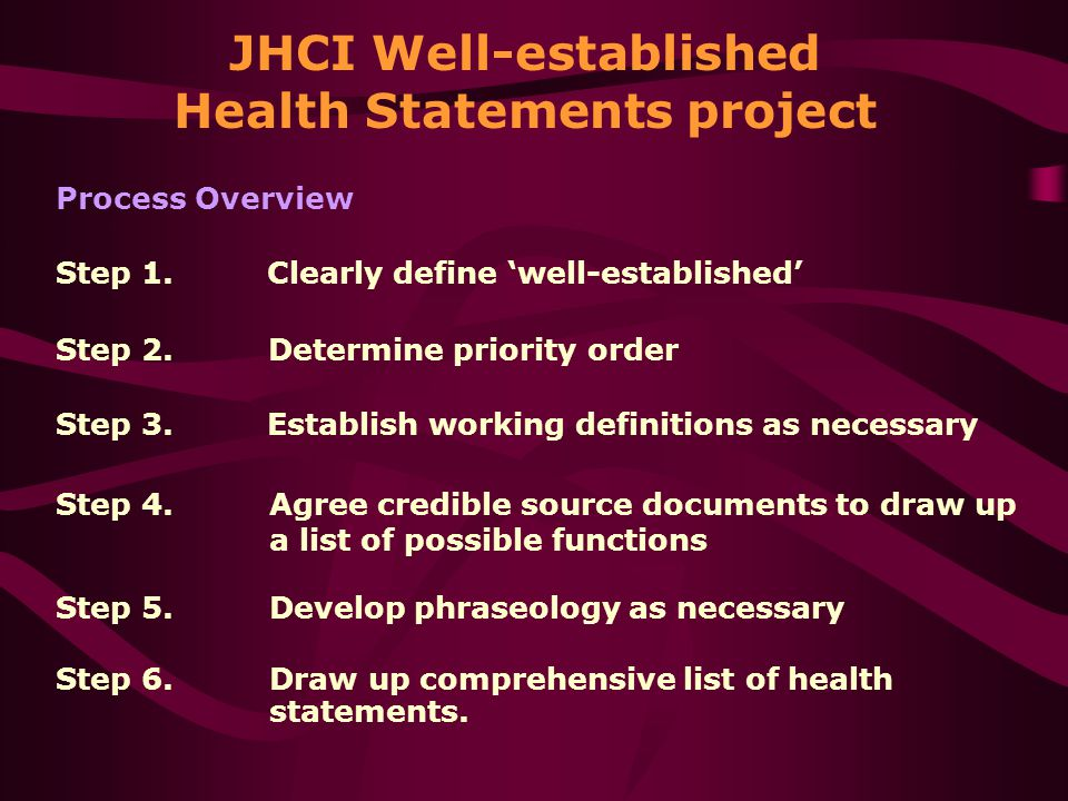 JHCI Well-established Health Statements project Step 1.