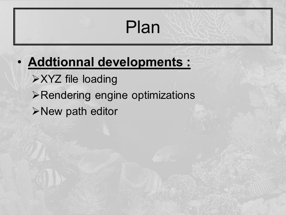Plan Addtionnal developments :  XYZ file loading  Rendering engine optimizations  New path editor