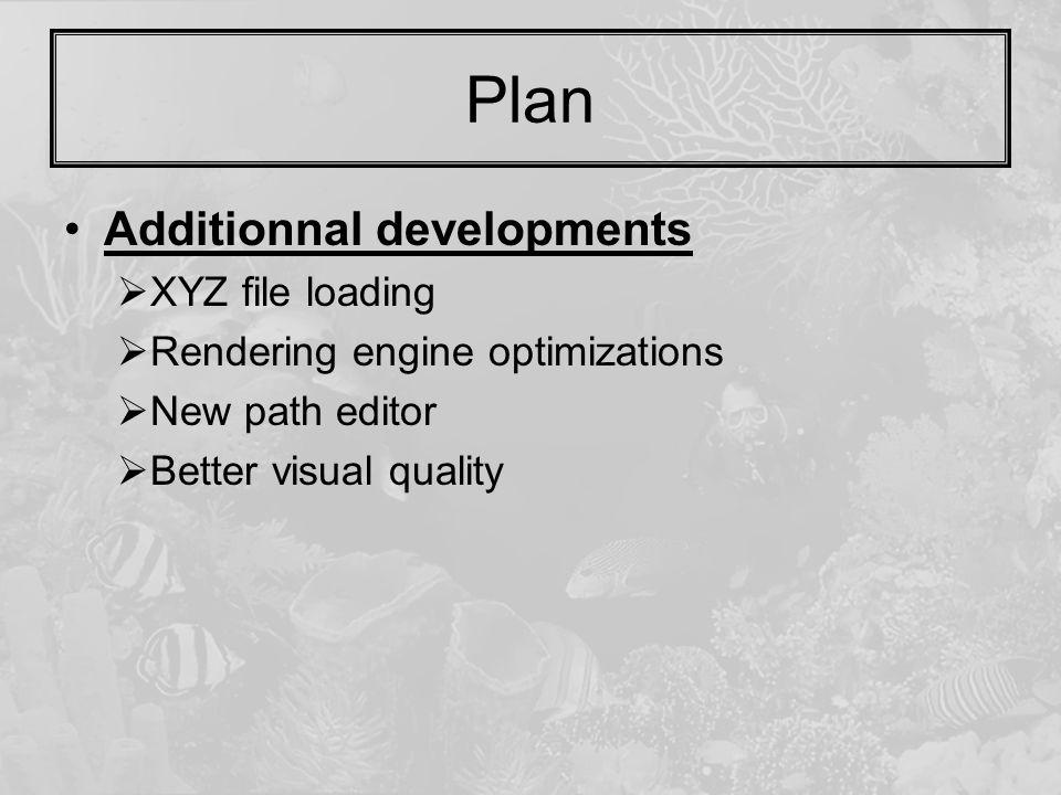 Plan Additionnal developments  XYZ file loading  Rendering engine optimizations  New path editor  Better visual quality