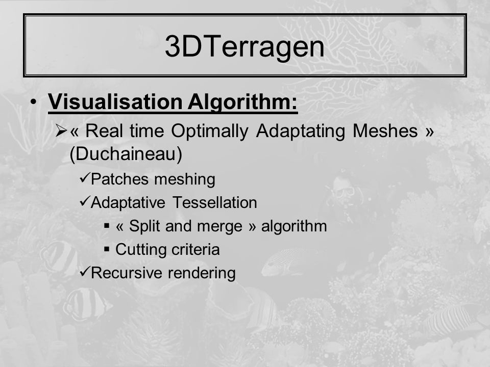 Visualisation Algorithm:  « Real time Optimally Adaptating Meshes » (Duchaineau) Patches meshing Adaptative Tessellation  « Split and merge » algori