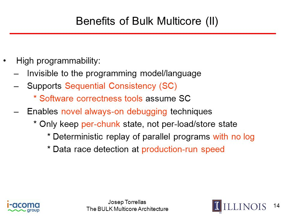 Josep Torrellas The BULK Multicore Architecture 14 Benefits of Bulk Multicore (II) High programmability: –Invisible to the programming model/language –Supports Sequential Consistency (SC) * Software correctness tools assume SC –Enables novel always-on debugging techniques * Only keep per-chunk state, not per-load/store state * Deterministic replay of parallel programs with no log * Data race detection at production-run speed