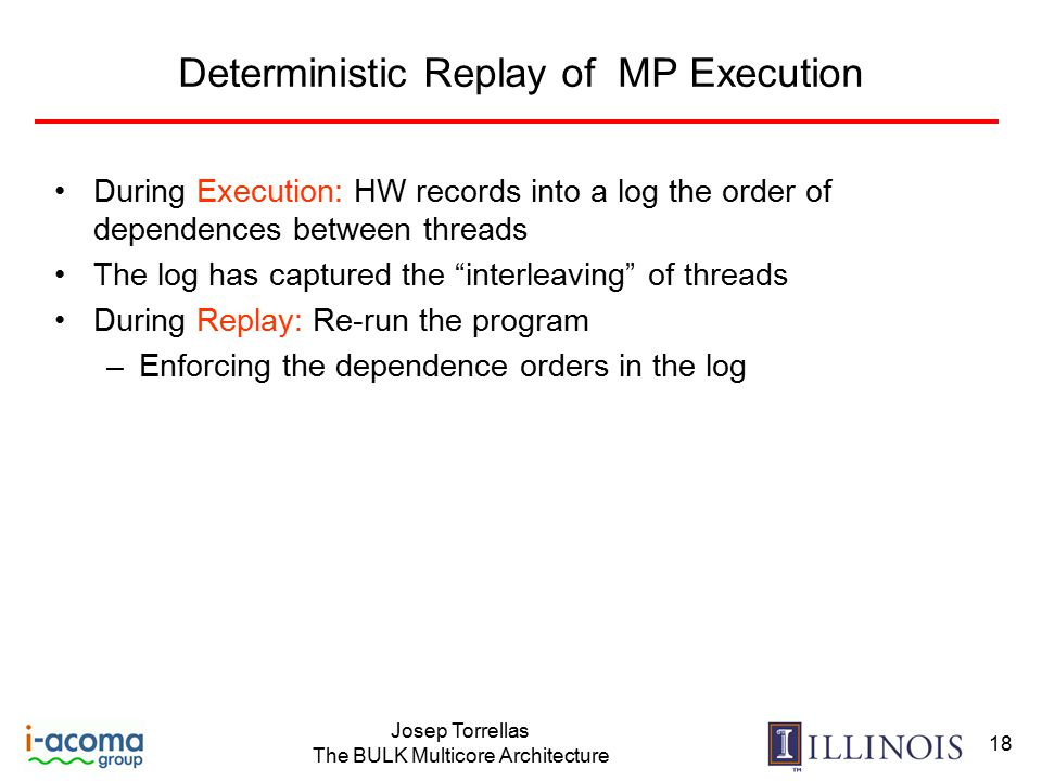 Josep Torrellas The BULK Multicore Architecture 18 Deterministic Replay of MP Execution During Execution: HW records into a log the order of dependences between threads The log has captured the interleaving of threads During Replay: Re-run the program –Enforcing the dependence orders in the log