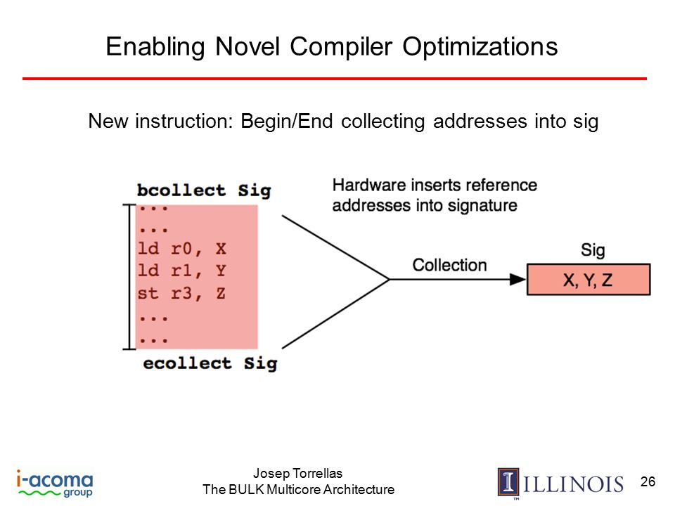 Josep Torrellas The BULK Multicore Architecture 26 Enabling Novel Compiler Optimizations New instruction: Begin/End collecting addresses into sig