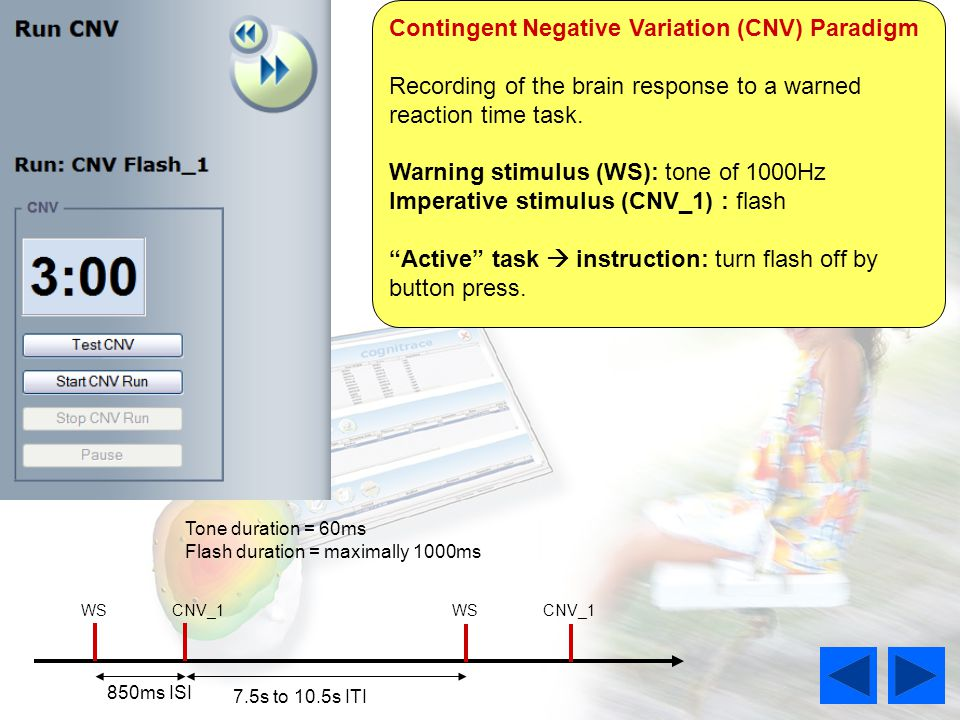 Contingent Negative Variation (CNV) Paradigm Recording of the brain response to a warned reaction time task.