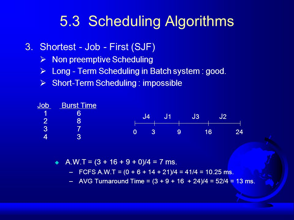 5.3 Scheduling Algorithms 3.Shortest - Job - First (SJF)  Non preemptive Scheduling  Long - Term Scheduling in Batch system : good.