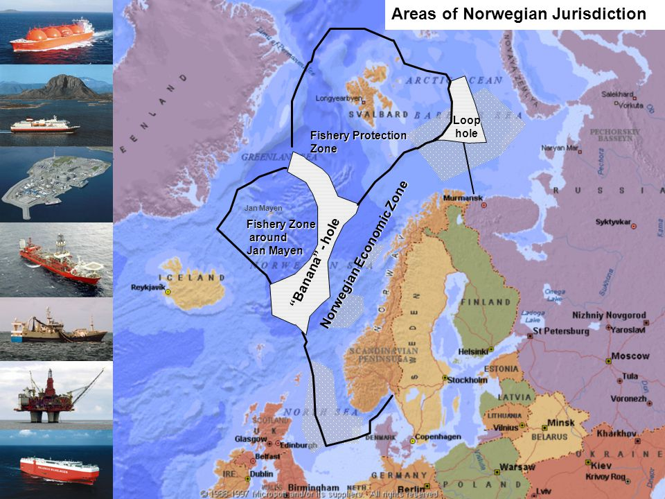 Forsvarets operative hovedkvarter National naval command of operations National Joint Headquarter Jan Mayen Fishery Protection Zone Norwegian Economic Zone Fishery Zone around around Jan Mayen Banana - hole Loophole Areas of Norwegian Jurisdiction