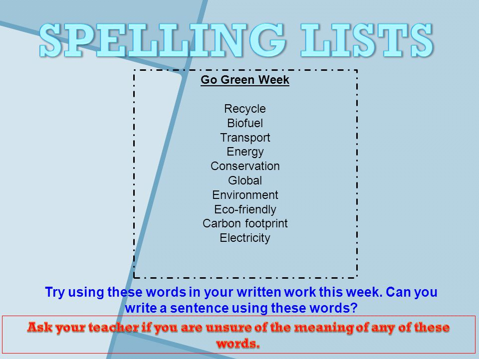 Try using these words in your written work this week.