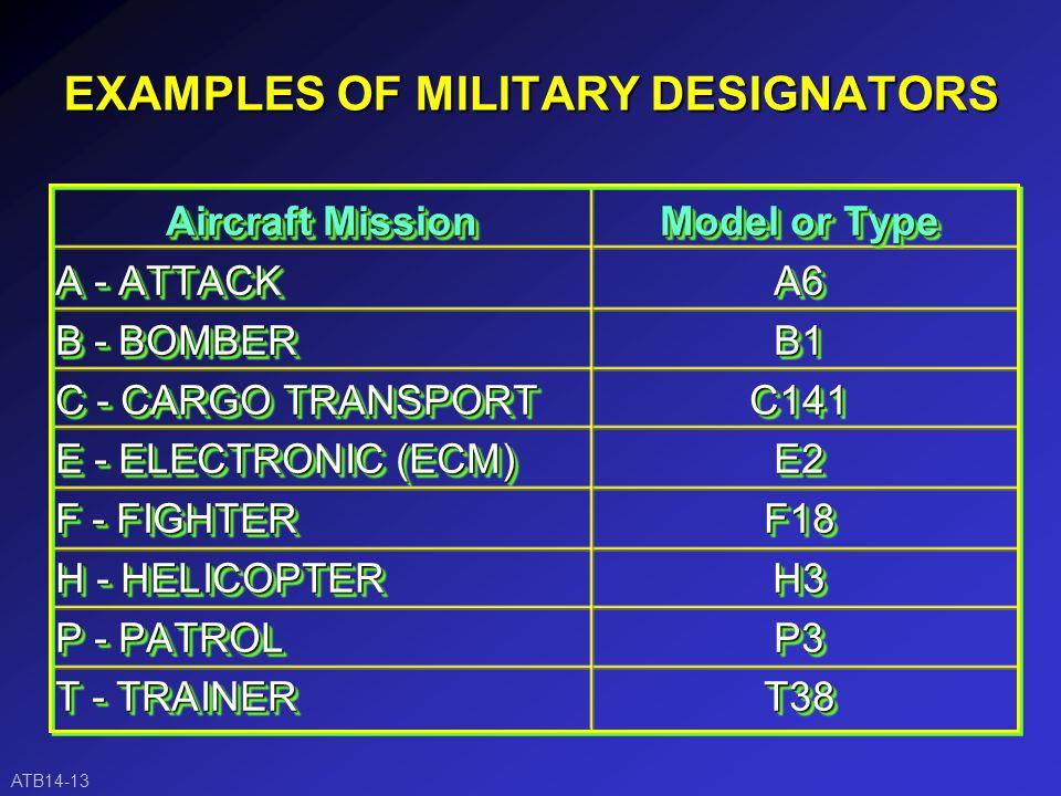 EXAMPLES OF CIVIL DESIGNATORS Model NameDesignator A.T.R.ATR BEECH JETMU30 BEECH 1900B190 STARSHIPSTAR 737-300/500B73B CARAVAN-2F406 FALCON20/FJFFA20 DASH-8DHC8 LEARJET 35LJ35 GULFSTREAM 2, 3, 4, 5GULF ATB14-12