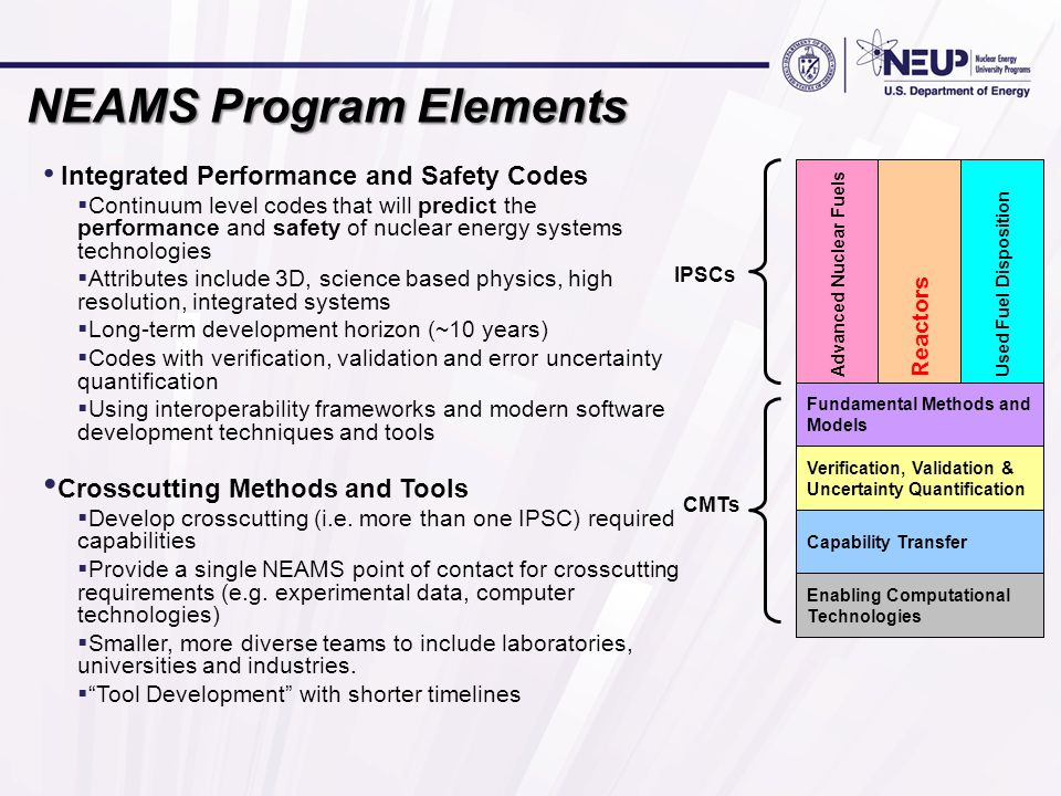 NEAMS Program Elements Integrated Performance and Safety Codes  Continuum level codes that will predict the performance and safety of nuclear energy systems technologies  Attributes include 3D, science based physics, high resolution, integrated systems  Long-term development horizon (~10 years)  Codes with verification, validation and error uncertainty quantification  Using interoperability frameworks and modern software development techniques and tools Crosscutting Methods and Tools  Develop crosscutting (i.e.