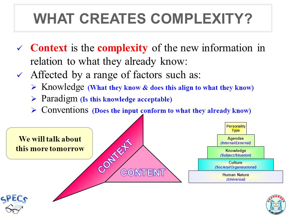 WHAT CREATES COMPLEXITY.