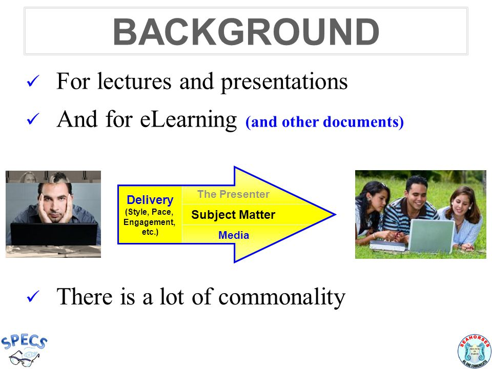 BACKGROUND For lectures and presentations And for eLearning (and other documents) The Presenter Subject Matter Presentation Aids Delivery (Style, Pace, Engagement, etc.) The Presenter Subject Matter Media Delivery (Style, Pace, Engagement, etc.) There is a lot of commonality