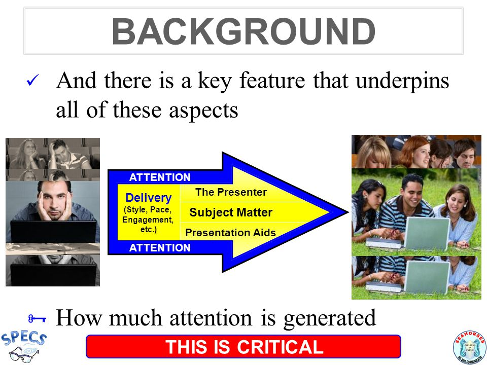 ATTENTION The Presenter Subject Matter Media Delivery (Style, Pace, Engagement, etc.) BACKGROUND  Because attention is a primary key to learning The Presenter Subject Matter Presentation Aids Delivery (Style, Pace, Engagement, etc.) Source: Oades & Sartory, 1997; Choi, Seitz & Watanabe, 2009