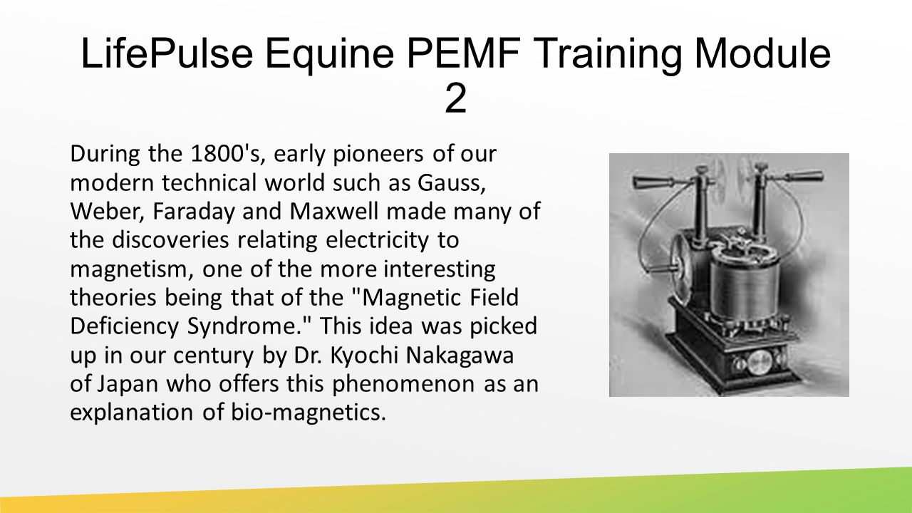 LifePulse Equine PEMF Training Module 2 During the 1800 s, early pioneers of our modern technical world such as Gauss, Weber, Faraday and Maxwell made many of the discoveries relating electricity to magnetism, one of the more interesting theories being that of the Magnetic Field Deficiency Syndrome. This idea was picked up in our century by Dr.