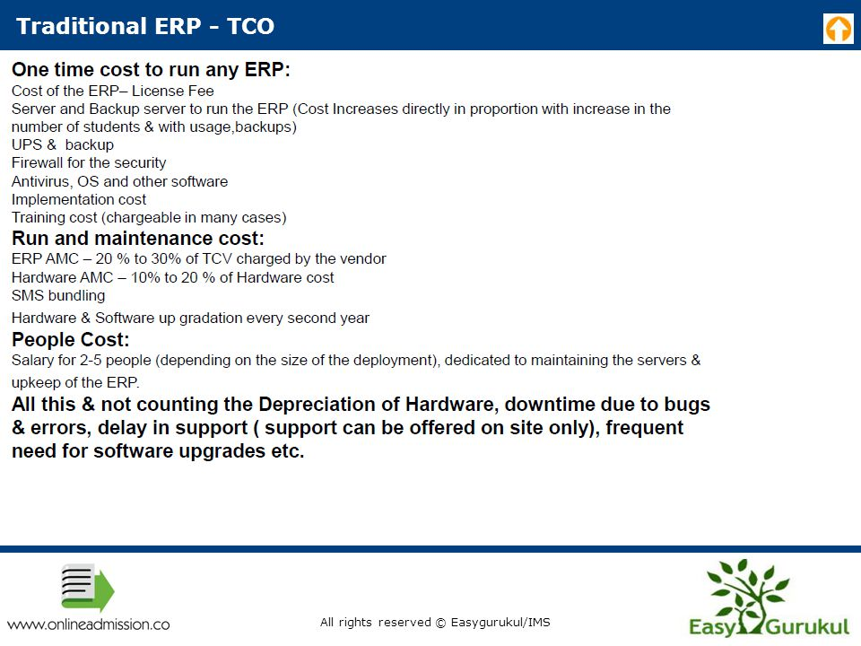 Traditional ERP - TCO All rights reserved © Easygurukul/IMS