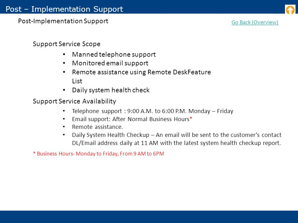 Post – Implementation Support Post-Implementation Support Go Back (Overview) Support Service Scope Manned telephone support Monitored email support Remote assistance using Remote DeskFeature List Daily system health check Support Service Availability Telephone support : 9:00 A.M.