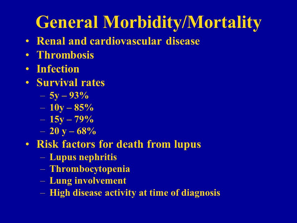 General Morbidity/Mortality Renal and cardiovascular disease Thrombosis Infection Survival rates –5y – 93% –10y – 85% –15y – 79% –20 y – 68% Risk factors for death from lupus –Lupus nephritis –Thrombocytopenia –Lung involvement –High disease activity at time of diagnosis