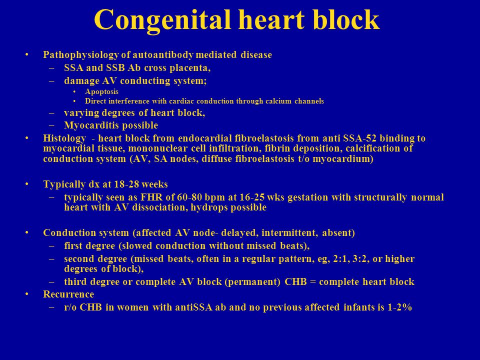 Congenital heart block Pathophysiology of autoantibody mediated disease –SSA and SSB Ab cross placenta, –damage AV conducting system; Apoptosis Direct interference with cardiac conduction through calcium channels –varying degrees of heart block, –Myocarditis possible Histology - heart block from endocardial fibroelastosis from anti SSA-52 binding to myocardial tissue, mononuclear cell infiltration, fibrin deposition, calcification of conduction system (AV, SA nodes, diffuse fibroelastosis t/o myocardium) Typically dx at 18-28 weeks –typically seen as FHR of 60-80 bpm at 16-25 wks gestation with structurally normal heart with AV dissociation, hydrops possible Conduction system (affected AV node- delayed, intermittent, absent) –first degree (slowed conduction without missed beats), –second degree (missed beats, often in a regular pattern, eg, 2:1, 3:2, or higher degrees of block), –third degree or complete AV block (permanent) CHB = complete heart block Recurrence –r/o CHB in women with antiSSA ab and no previous affected infants is 1-2%