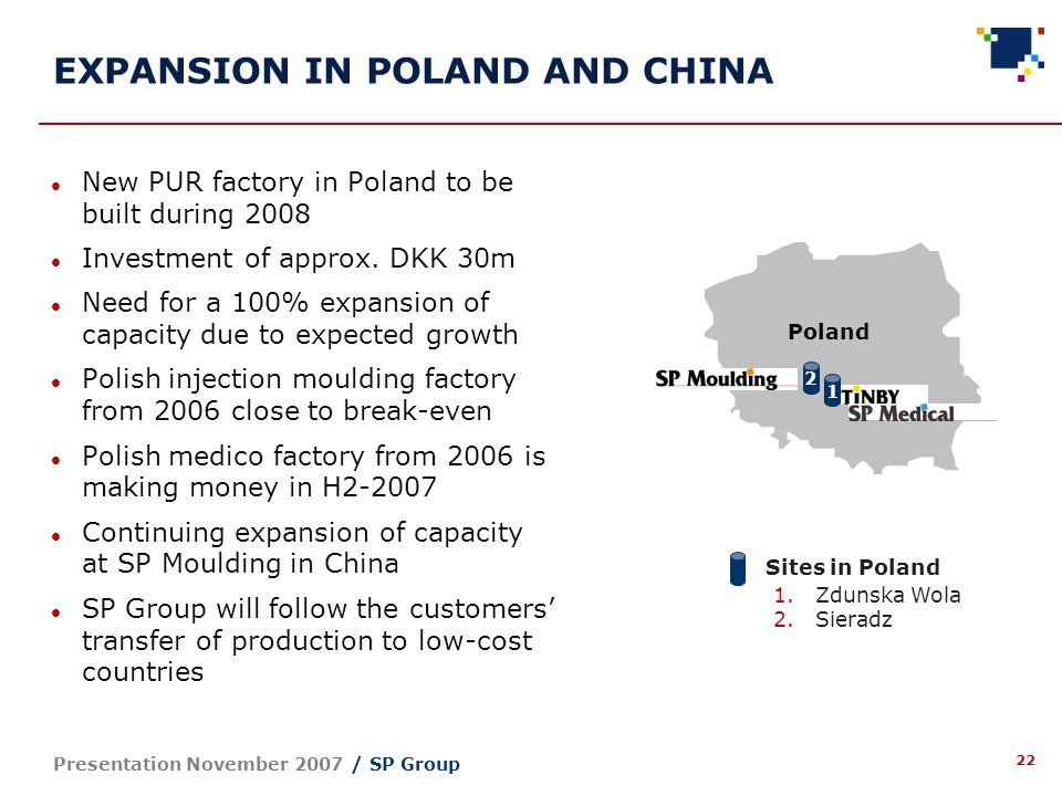 22 Presentation November 2007 / SP Group EXPANSION IN POLAND AND CHINA New PUR factory in Poland to be built during 2008 Investment of approx.
