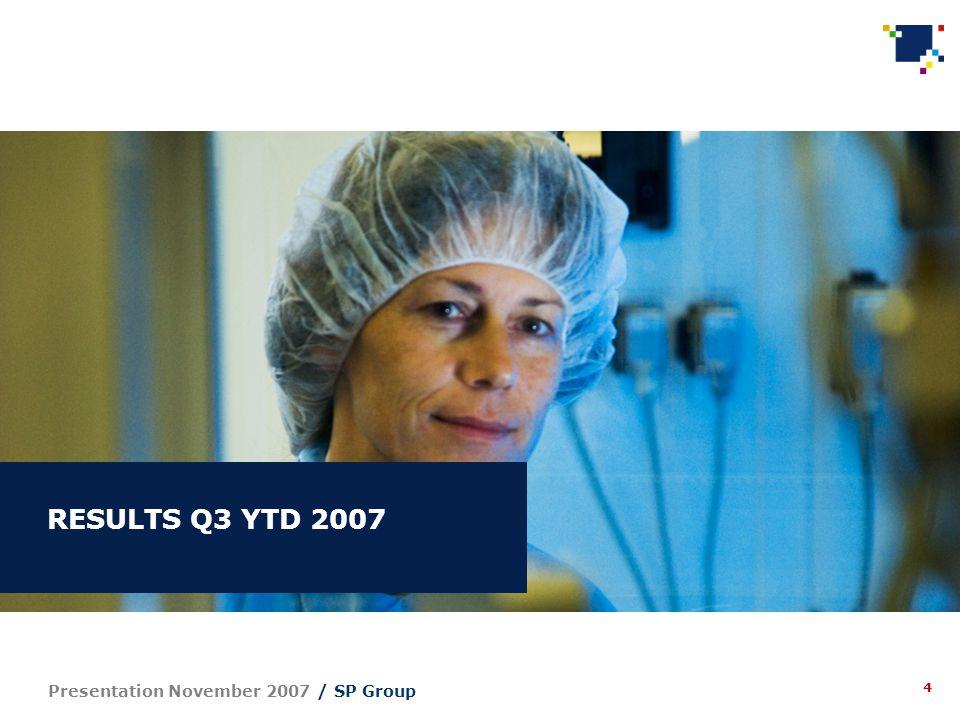4 Presentation November 2007 / SP Group RESULTS Q3 YTD 2007