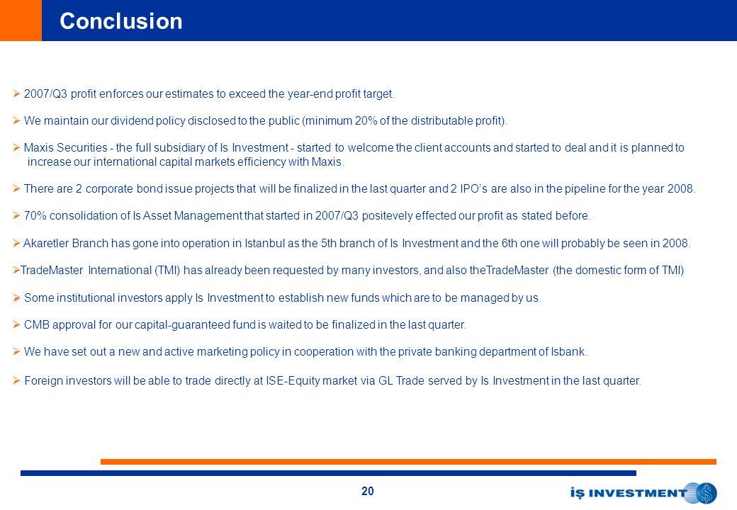 20 Conclusion   2007/Q3 profit enforces our estimates to exceed the year-end profit target.
