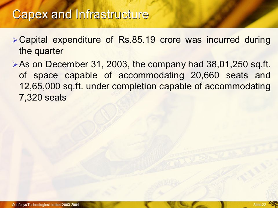 © Infosys Technologies Limited 2003-2004Slide 22 Capex and Infrastructure  Capital expenditure of Rs.85.19 crore was incurred during the quarter  As on December 31, 2003, the company had 38,01,250 sq.ft.