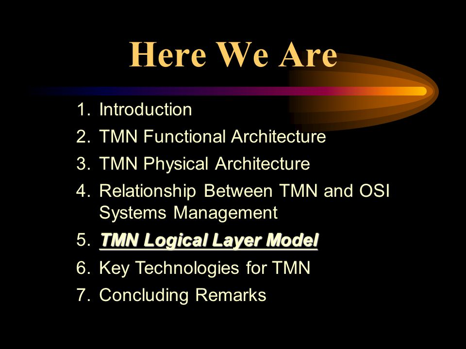 1.Introduction 2.TMN Functional Architecture 3.TMN Physical Architecture 4.Relationship Between TMN and OSI Systems Management TMN Logical Layer Model 5.TMN Logical Layer Model 6.Key Technologies for TMN 7.Concluding Remarks Here We Are