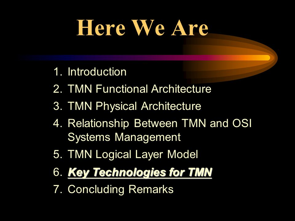 Here We Are 1.Introduction 2.TMN Functional Architecture 3.TMN Physical Architecture 4.Relationship Between TMN and OSI Systems Management 5.TMN Logical Layer Model Key Technologies for TMN 6.Key Technologies for TMN 7.Concluding Remarks